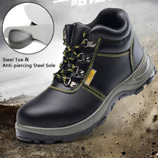 Men's Safety Boots Waterproof Leather Work Shoes with Steel Toecap Midsole