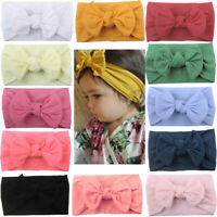 Girls Baby Toddler Turban Solid Headband Hair Band Bow Accessories Headwear Kids