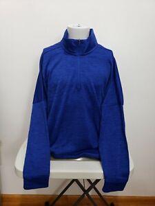 New XL adidas Climawarm Quarter 1/4 Zip Fleece Long Sleeve Sweatshirt Men's Blue