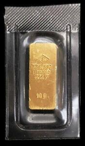 DEGUSSA GOLD 10 GRAMS .9999 FINE SEALED INGOT BAR