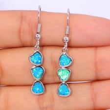 ** SWEET** Silver/Rhodium Plated BLUE LAB FIRE OPAL TRIPLE HEARTS  Earrings