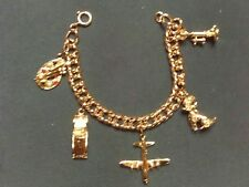 VINTAGE SILVER TONE CHARM BRACELET WITH 5 CHARMS 50'S/60'S?