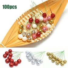 100Pcs Christmas Artificial Holly Berrie With Sequins For Xmas Tree Wreath Craft