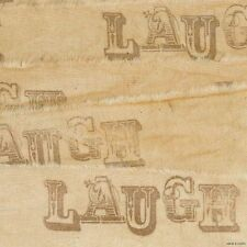 muslin LAUGH vintage tea dyed SCRAPBOOK ribbon TRIM. c8