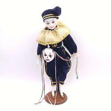"Acting Troop Clown Face Figurine Doll 17"" Ceramic"