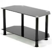 Black glass corner tv television entertainment stand shelves display unit