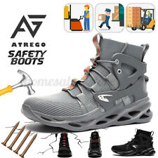 AtreGo Men's Work Safety Shoes Steel Toe Boots Indestructible Hiking Sneakers