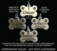 Custom Engraved STAINLESS STEEL BONE Pet Tag PAW PRINT Dog Cat ID IDENTIFICATION