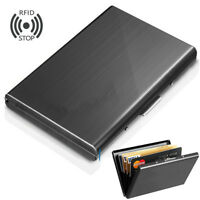 Aluminum Metal Slim Anti-Scan Credit Card Holder RFID Blocking Wallet Case LN