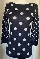 NWT The Limited Navy Blue Long Sleeved Sweater With Polka Dots Women's Sz XS