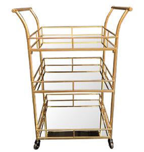 The Margarita – Serving Trolley - Gold Metal Glass 3 Shelf Cart