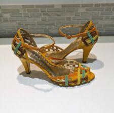 Womens BCBG Girls orange blue multicolored Strappy Heels Size 6 b