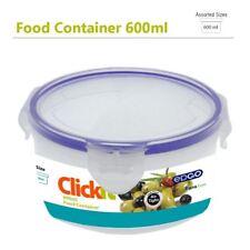 3 x 600ml Click Lock Lid BPA Free Food Container Set Air Tight Leak Storage Box