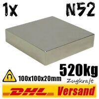 Sehr starker Neodym Magnet 100x100x20mm 520kg N52 Ausbeulmagnet Powermagnet
