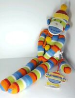 """Monkeez Jasper Sock Monkey Plush 21"""" with magnetic hands and feet toy 2009 w tag"""