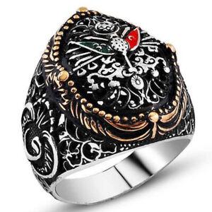 Solid 925 Sterling Silver Vav Design Ottoman Coat of Arm Men's Ring