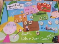Ben and holly's little kingdom Colour Sort Game 18 Wooden Tokens 3+ Game Board