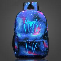 Galaxy Spiderman Backpack Book Bag Teenagers Night Luminous Student School Bags