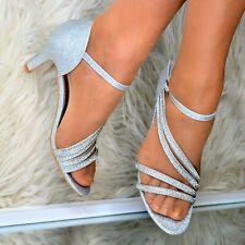 Zapatos para mujer Tacón Medio Sandalias Noche Boda Dama De Honor Satén Brillante Diamantes De Imitación