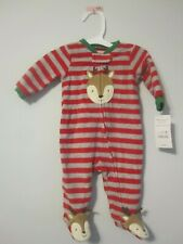 Newborn Baby Just One You Carter's Hoilday Xmas Reindeer Fleece Footed Romper