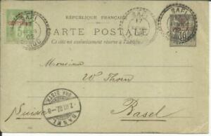 French Morocco Postal Card-HG:3-SAFFI 17/FEVR/02-uprated Sc#2a-Type I(yellow