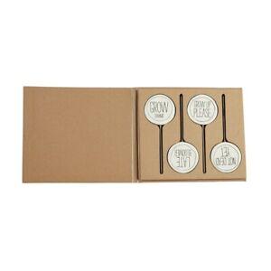 """Mud Pie E0 Veranda Greenhouse 6"""" Ceramic Plant Marker 4-Piece Set 42600483"""