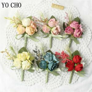 Silk Roses Groomsmen Boutonniere Bridesmaid Pin Wedding Corsage Bracelet Flowers