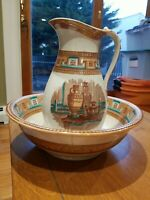 "ANTIQUE IRONSTONE Transferware 14""T Pitcher, Wash Bowl Basin 16""W Brown on White"