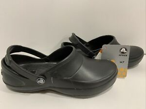CROCS NEW MERCY WORK CLOGS WOMENS SIZE 7 WIDE BLACK