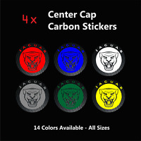 4x JAGUAR Badge Logo Carbon Center Caps Alloy Rim Wheels Stickers XE XF F X Type