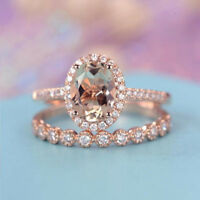 18K Solid Rose Gold Morganite Gemstone Ring Set Women Wedding Jewelry New Sz6-10