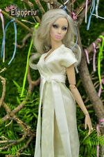 "ELENPRIV ivory velvet dress for Sybarites Gen X body and similar 12"" dolls"