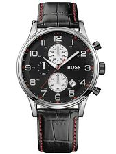 Hugo Boss Men's 1512631 Chronograph Stainless Steel Black Leather Watch - Used A
