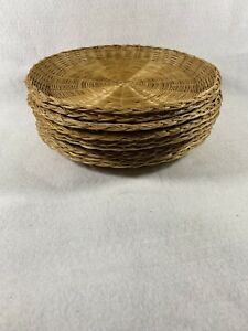 "Lot of 10 Bamboo Wicker Rattan Paper Plate Holders Brown 10"" Diameter"