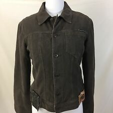Womens Dolce & Gabbana Brown Denim Jacket Sz M w/Pink Quilted Lining & Patches