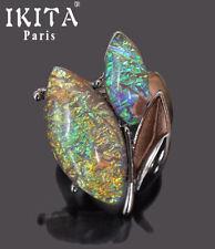 Luxus Ring Damenringe Fingerringe IKITA Paris Elastisch Metall Grau Glas Reflex