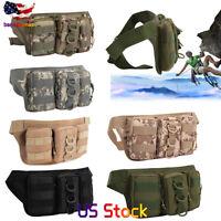 Men Drop Leg Bag Tactical  Waist Pack Canvas Belt Outdoor Pouch Travel Camping
