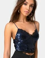MOTEL ROCKS Drilly Crop Top in Midnight Mini Sequin with Lace  Small S   (mr83)