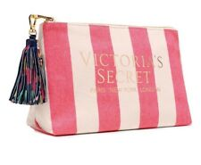 Victoria's Secret Pink Striped / Tropical Cosmetic/ Makeup Beauty Bag