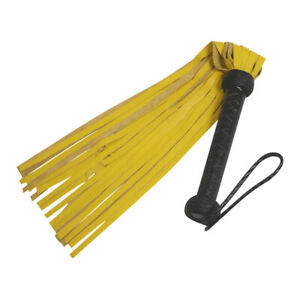 Yellow Genuine Cow Hide Thick Leather Flogger 25 Tails Heavy Leather Flogger