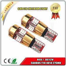 2 X NEW RED Canbus Error Free Car T10 W5W 194 168 4014 27 smd Wedge Light Bulb
