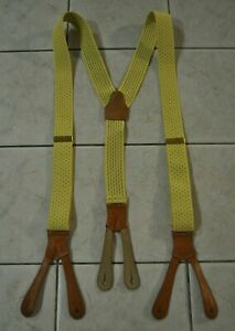 Vintage Polo by Ralph Lauren Yellow Elastic Brown Leather Button Hook Suspenders