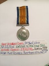 More details for ww1 (entitled to 1914 star trio)  sjt monte white. army veterinary corps. silver