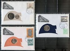 BELGIUM SETOF 3 COINS ON 3  CERTIFIED CANCELED FIRST DAY OF ISSUE COVERS 1.6.72