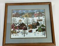 Charles Wysocki Framed Print Christmas Time Carols Matted and Framed
