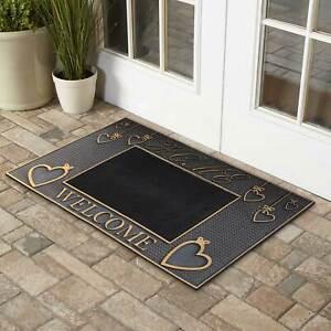 Black Gold Welcome Door Mat PVC Entrance Rug Mat Rubber