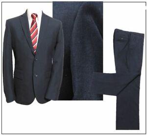 "Next TAILORED FIT 2 piece mens suit Ch40""R W34"" L29"" Navy Sharkskin"