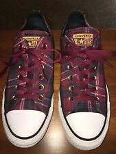 Converse All Star Low Top Women's Shoe Size 8 Plaid Burgundy Maroon Tennis Shoes