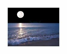 Full Moon Sea Tide Beach Night Photo Art Picture Canvas Print