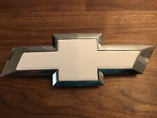 (2) Silverado WHITE Carbon Fiber Chevy Bowtie Vinyl Sheets Emblem Overlay